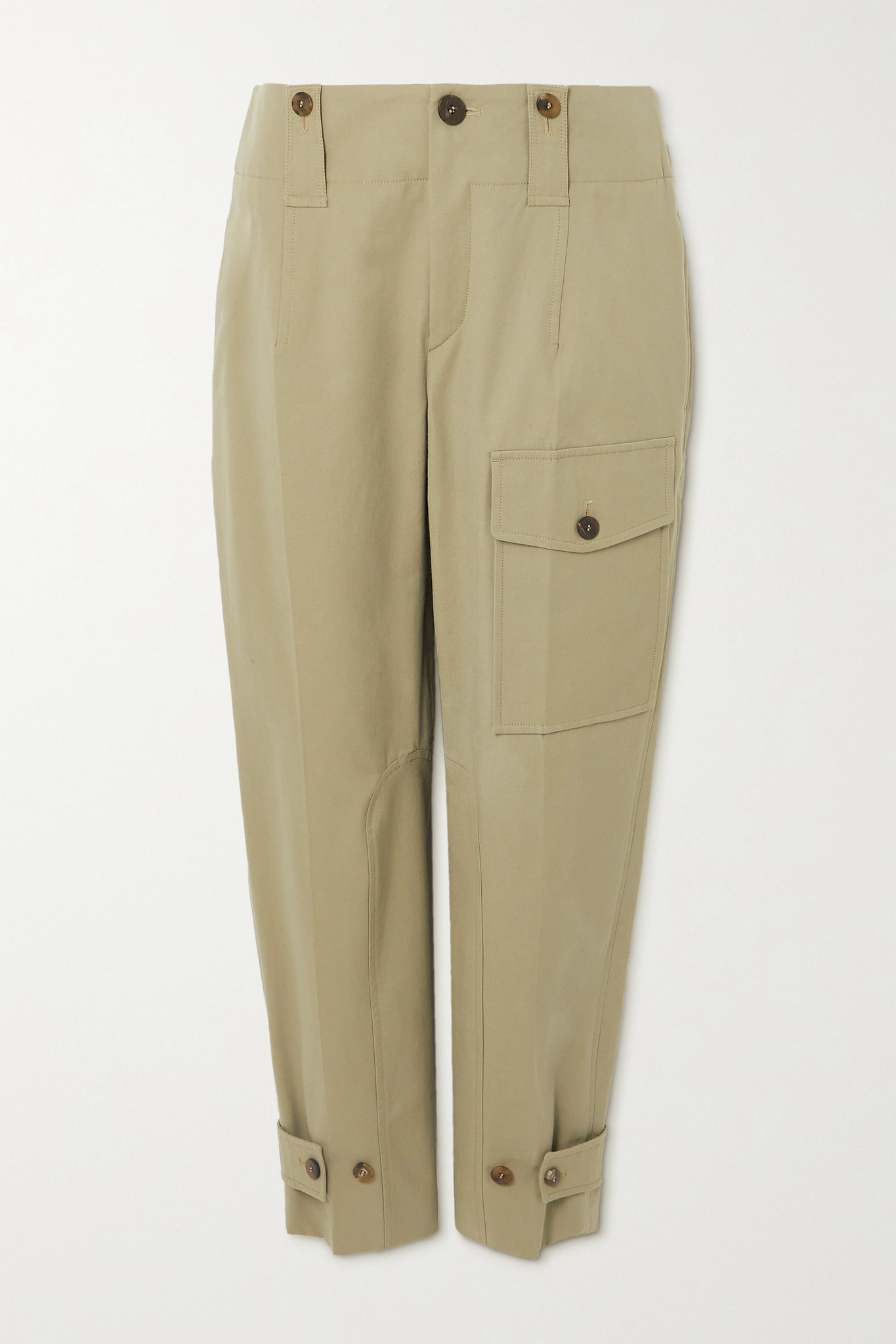 CHLOÉ - Cotton-blend Canvas Straight-leg Cargo Pants - Green - FR34