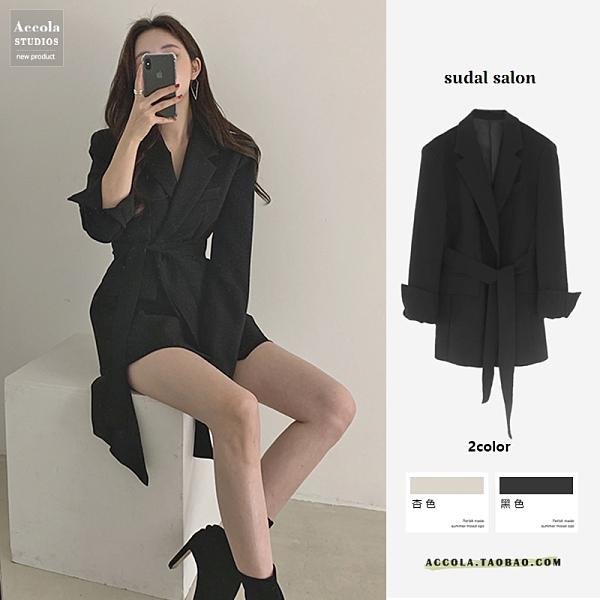 西裝洋裝 西裝外套 ol西裝外套女 西裝繫帶連身裙 長袖 氣質 顯瘦 杏色 黑色 S-XL 依二衣 549-A8057