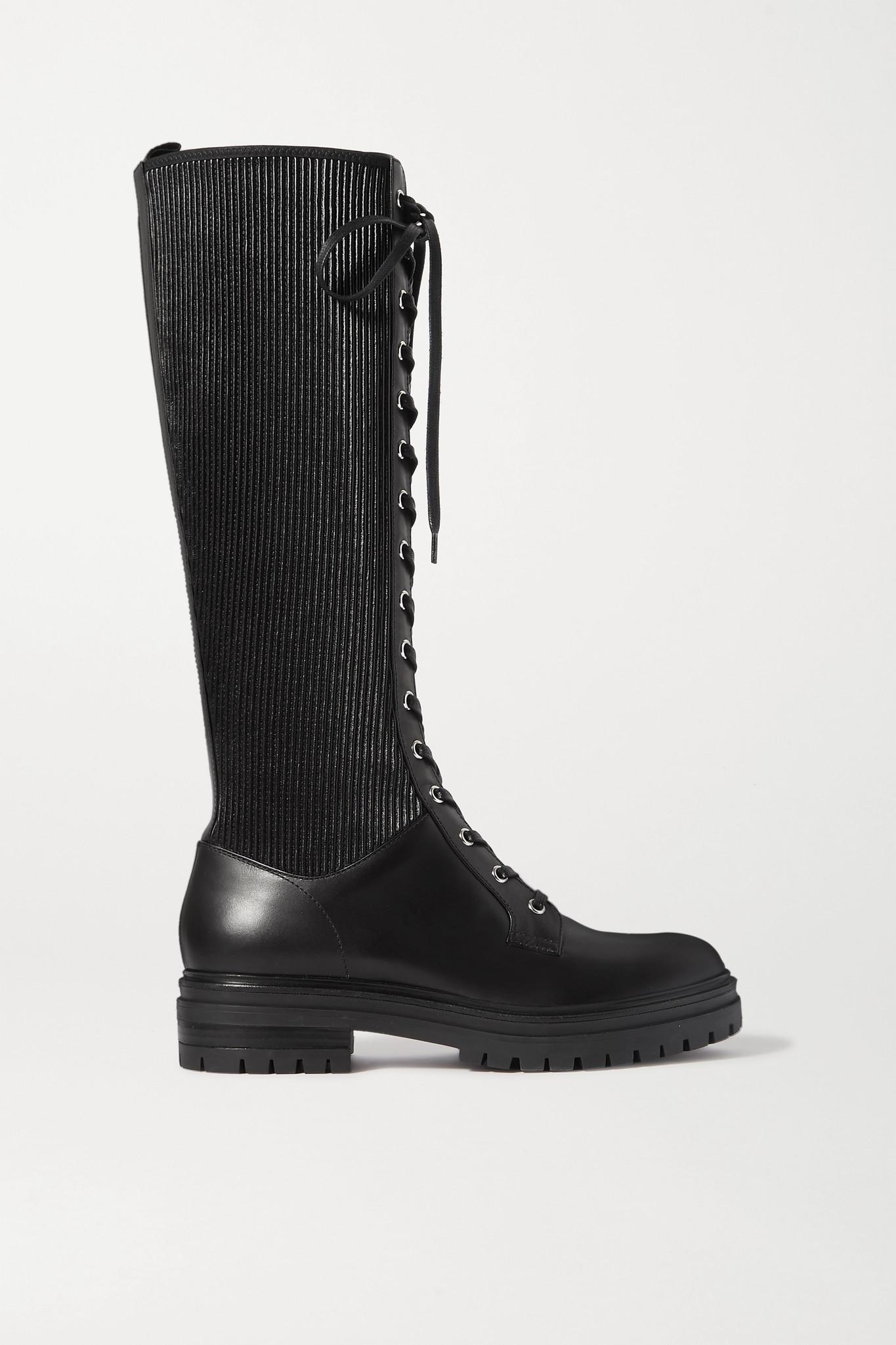 GIANVITO ROSSI - 绑带式皮革及膝长靴 - 黑色 - IT35.5