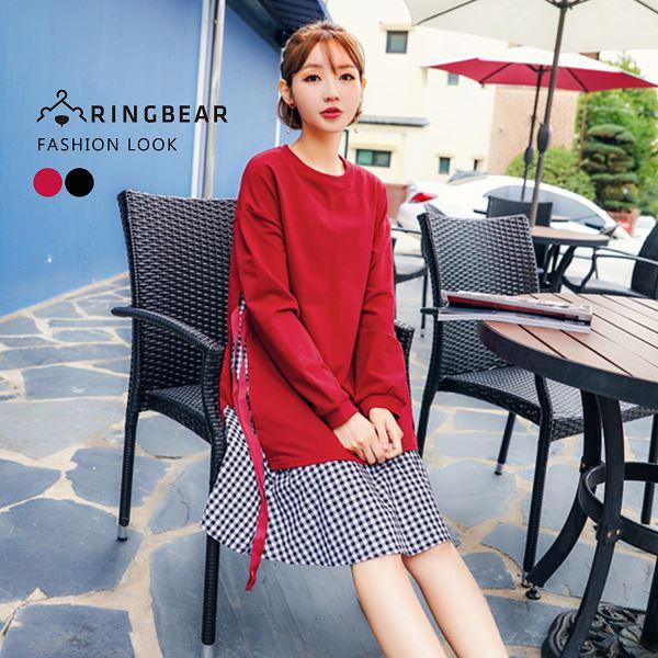 氣質洋裝--可愛休閒側邊綁帶假兩件格紋下襬圓領長袖洋裝(黑.紅XL-4L)-A324眼圈熊中大尺碼