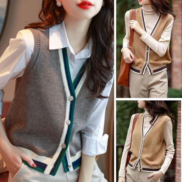 (超低價)英倫風復古撞色設計V領針織背心 韓版時尚氣質滾邊設計色針織衫(2色)-凱西娃娃