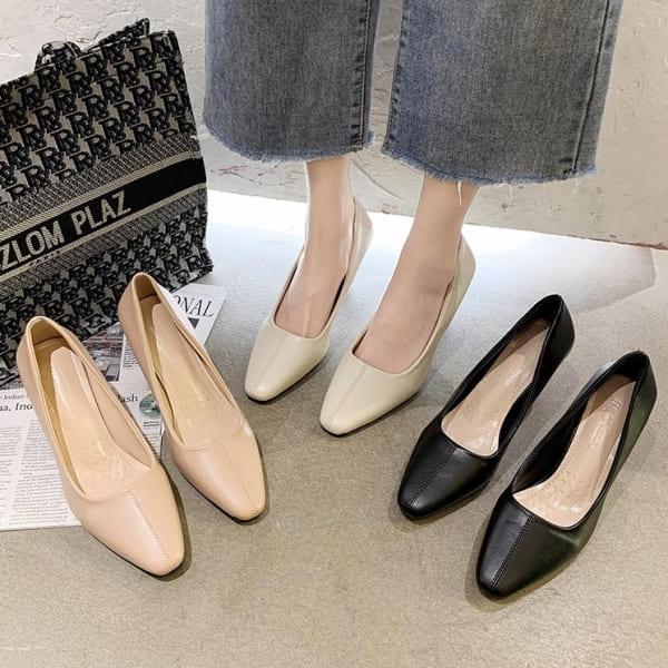 細跟鞋.韓國優雅素面皮革中車線方頭高跟包鞋.白鳥麗子