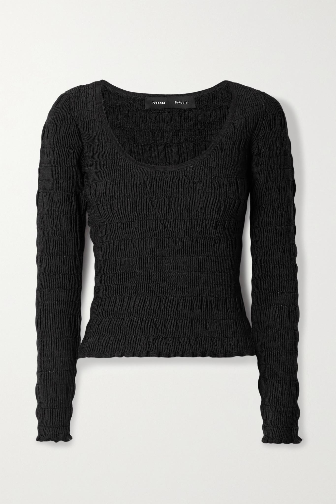 PROENZA SCHOULER - 平行绉缝弹力针织上衣 - 黑色 - small