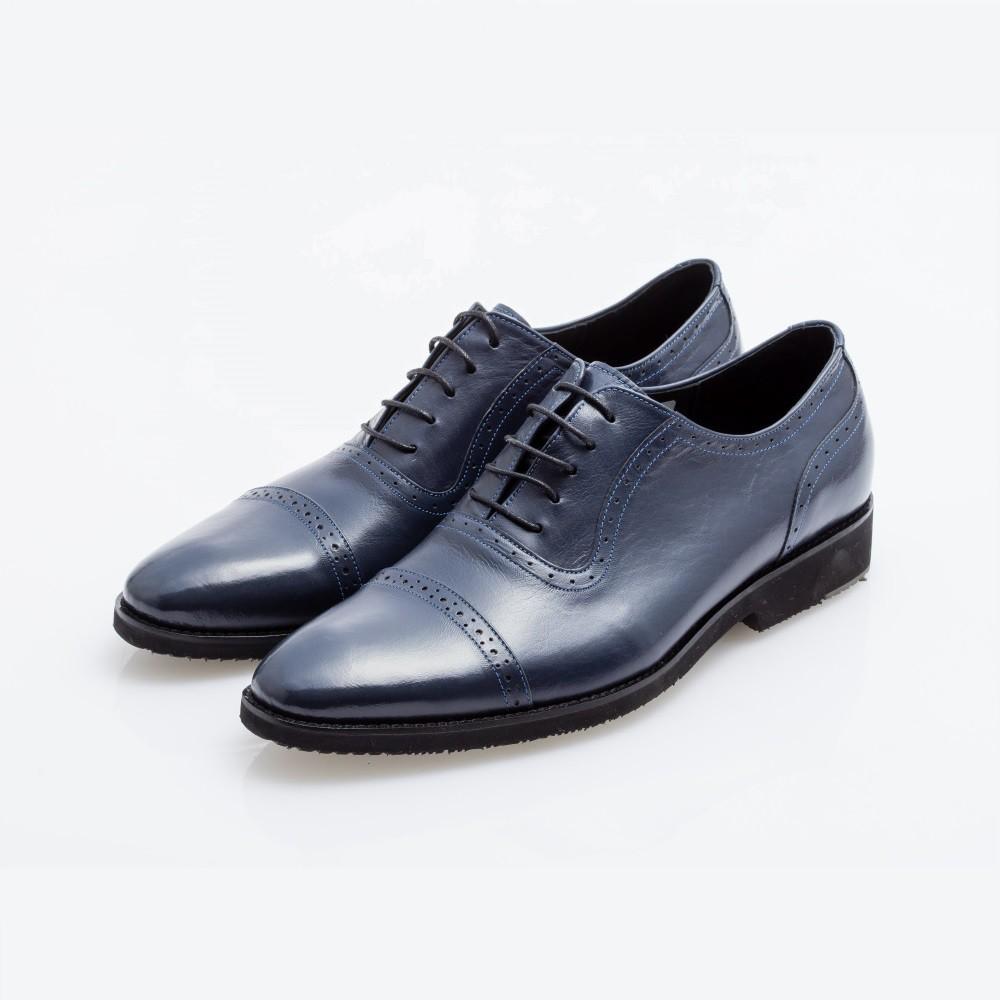 TOBU橫飾雕花牛津鞋Oxford 內耳式 藍 英倫紳士 真皮 精品 標價4580