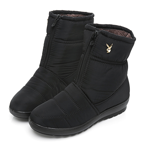 PLAYBOY 冬日暖意 防潑水輕量中筒雪靴-黑(Y6766)