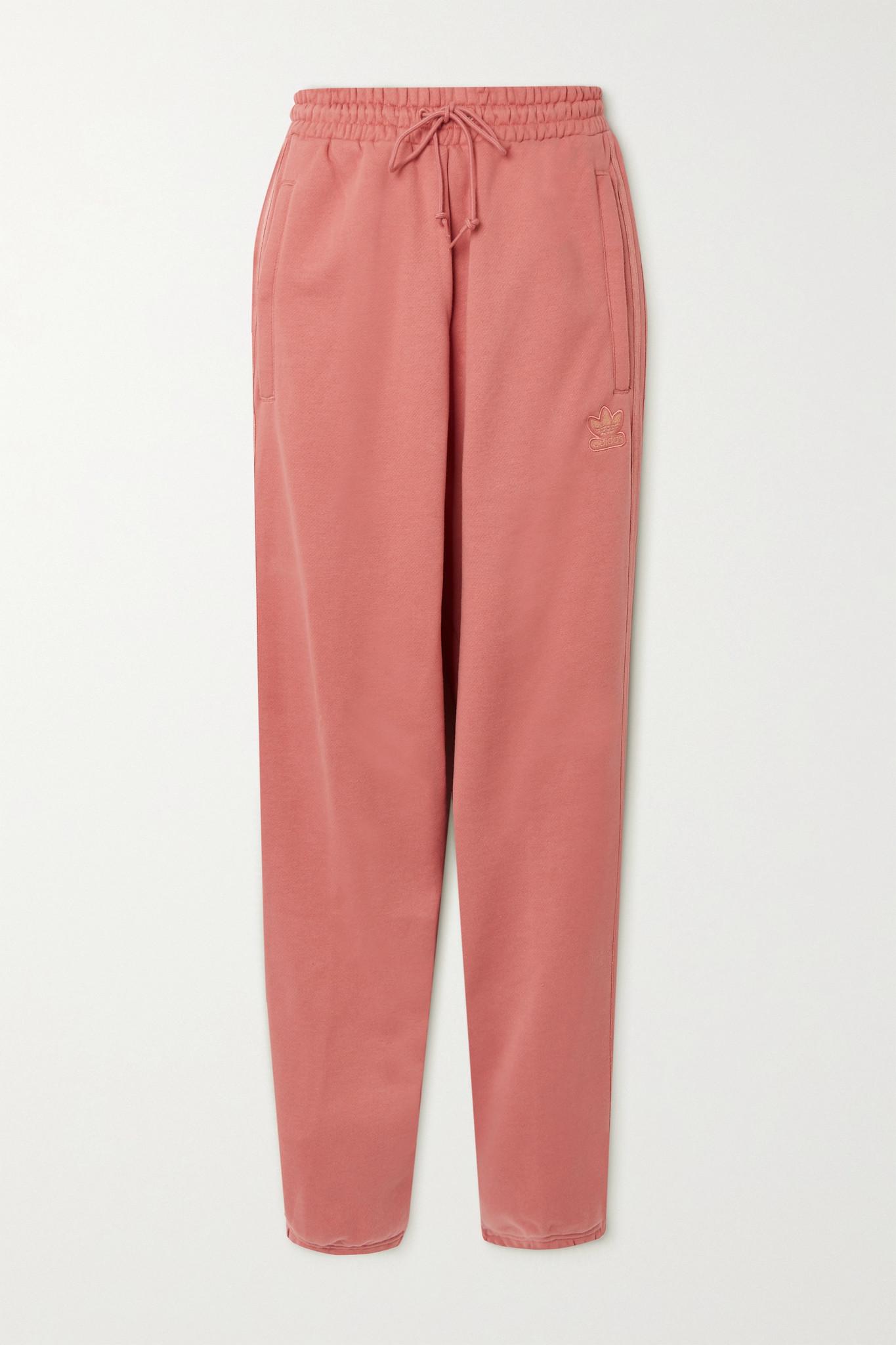 ADIDAS ORIGINALS - 金属感条纹法国纯棉毛巾布运动裤 - 粉红色 - UK6