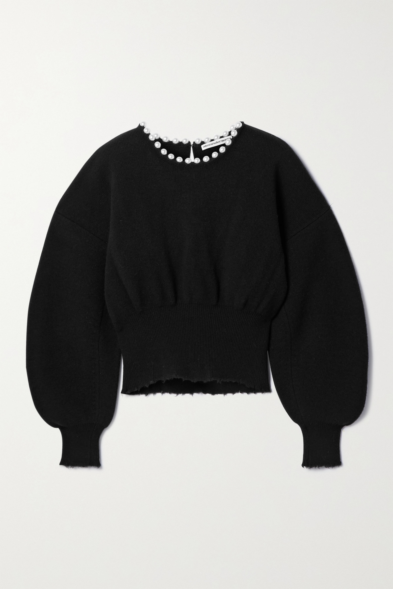 ALEXANDER WANG - Faux Pearl-embellished Distressed Wool-blend Sweater - Black - x small