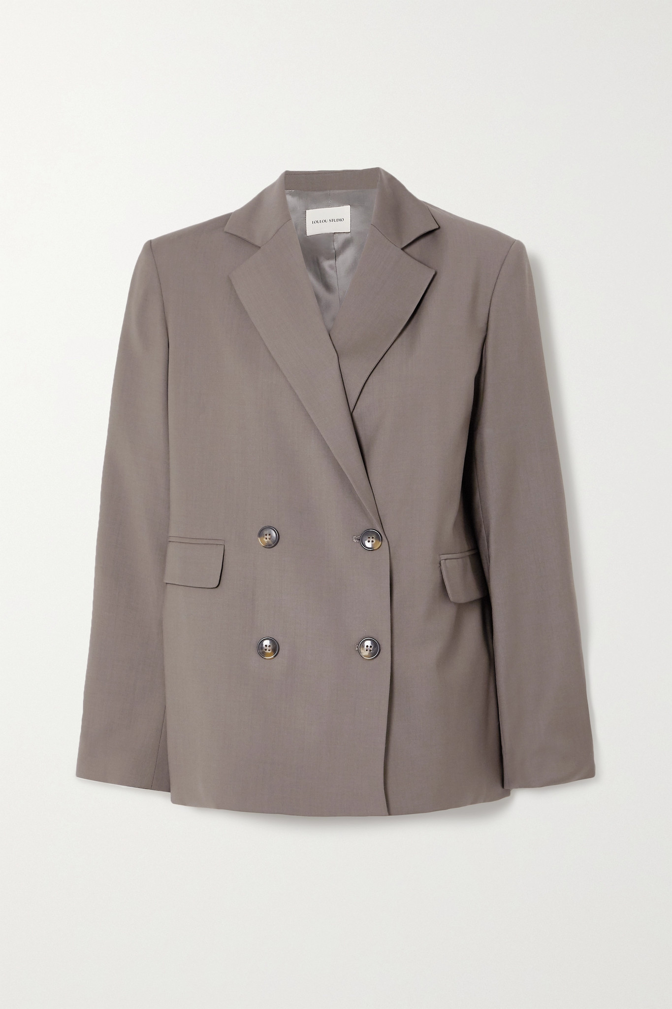 LOULOU STUDIO - Tatakoto Double-breasted Wool Blazer - Gray - medium