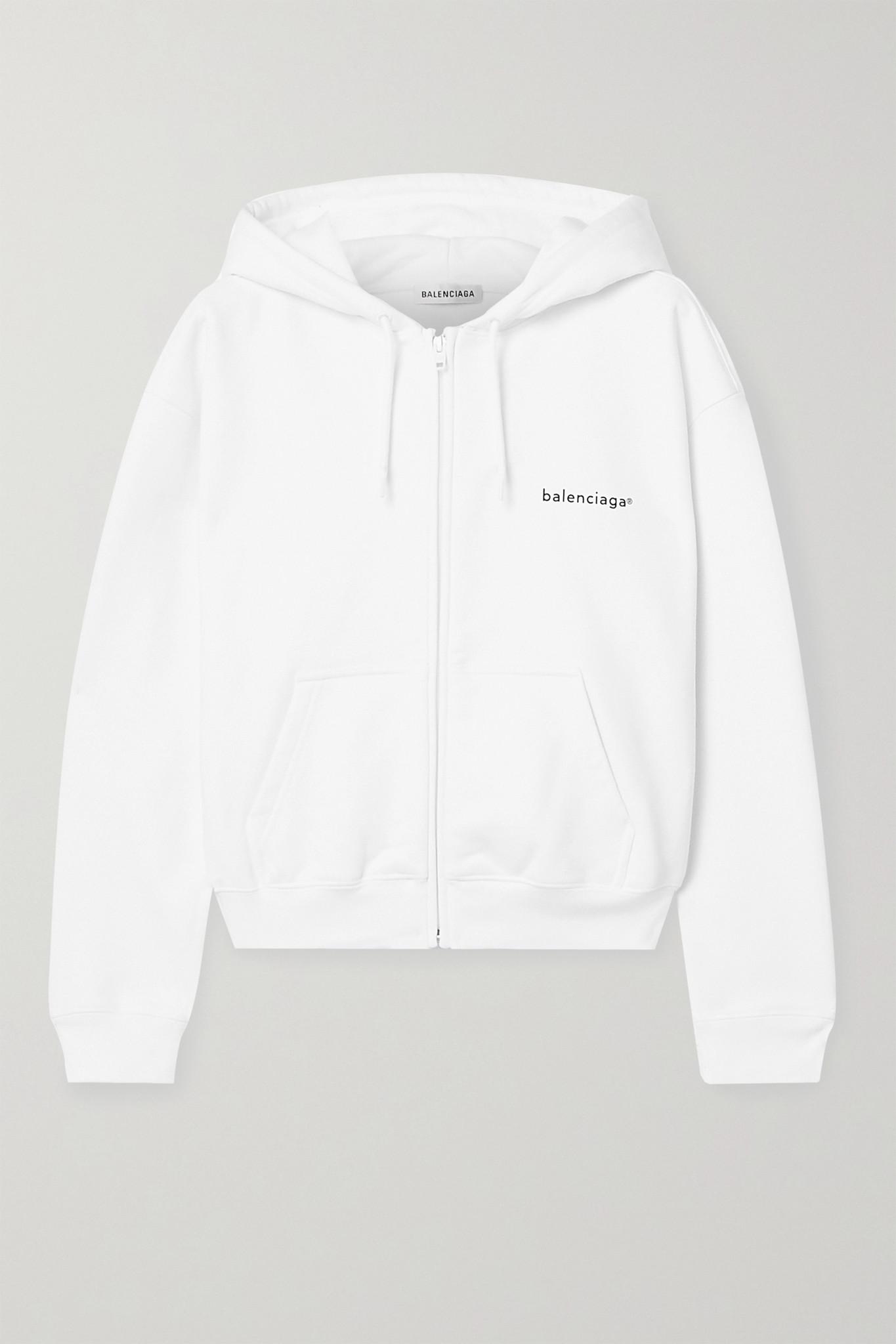 BALENCIAGA - 印花纯棉平纹布帽衫 - 白色 - large