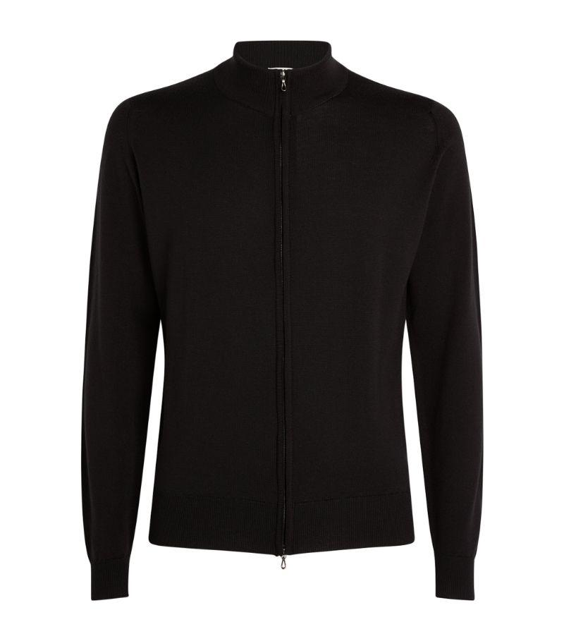John Smedley Merino Wool Zip-Up Sweater