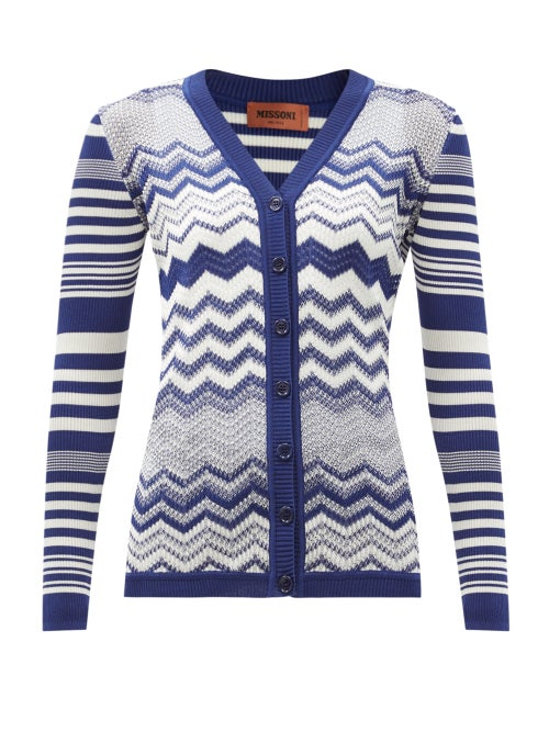 Missoni - V-neck Jacquard-striped Cardian - Womens - Blue White