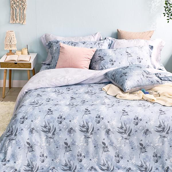 床包枕套組-雙人加大/60支/ 萊塞爾天絲三件式 / 暮晨雨葉 台灣製
