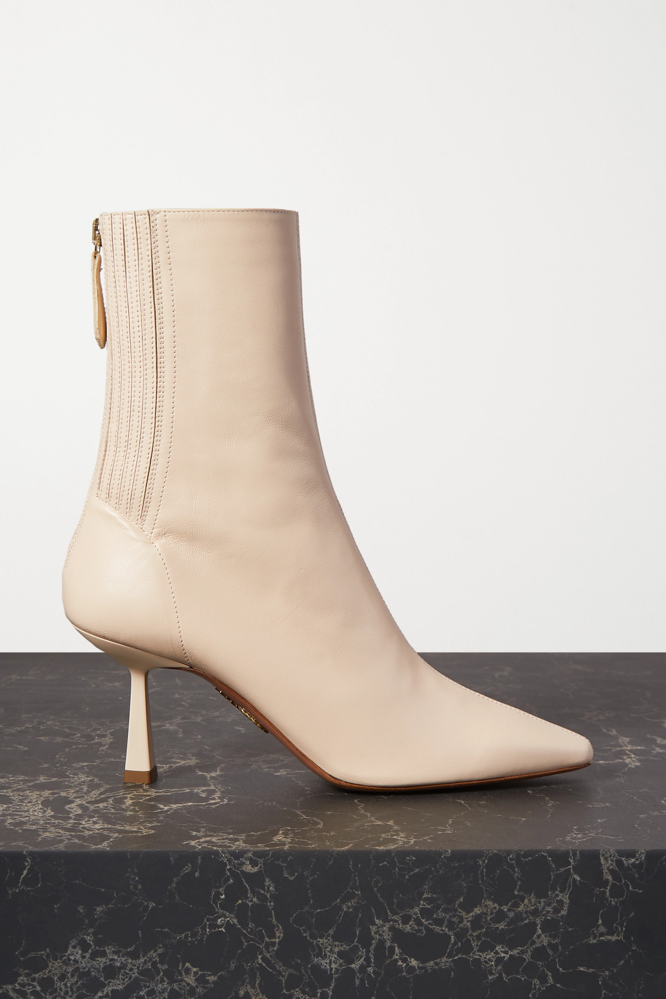 AQUAZZURA - Curzon 75 Leather Ankle Boots - Off-white - IT38
