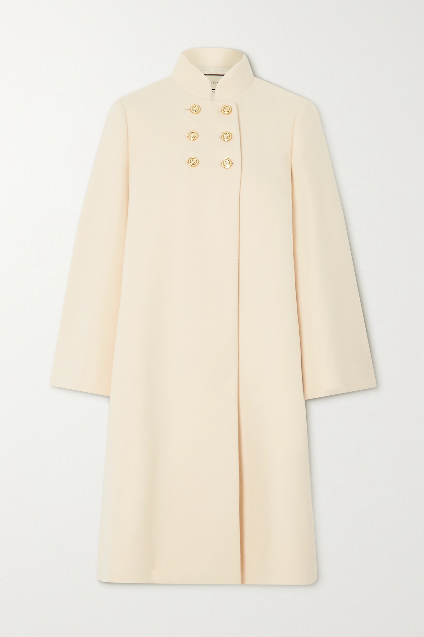 GUCCI - Button-embellished Double-breasted Wool-blend Felt Coat - White - IT40