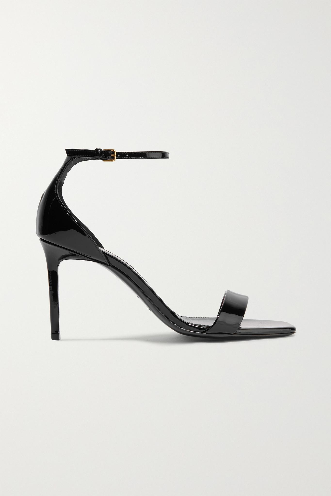 SAINT LAURENT - Amber Patent-leather Sandals - Black - IT40