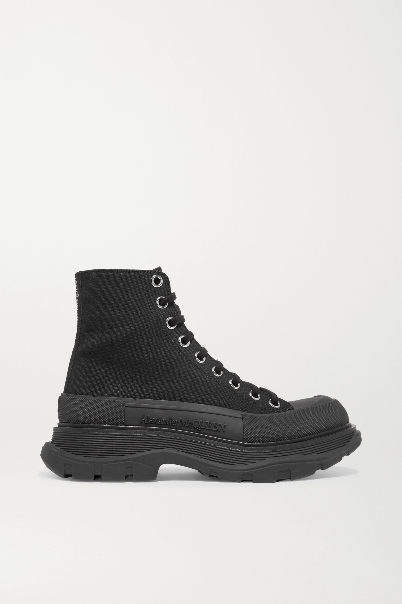 ALEXANDER MCQUEEN - 帆布橡胶厚底踝靴 - 黑色 - IT39.5