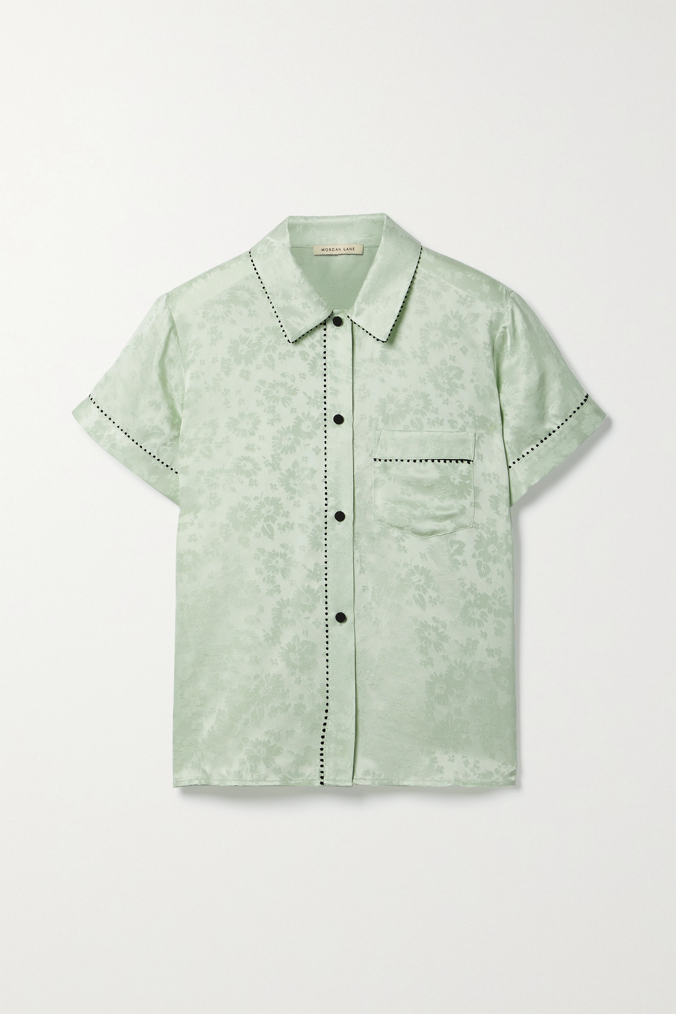 MORGAN LANE - Tami Picot-trimmed Satin-jacquard Pajama Shirt - Green - medium