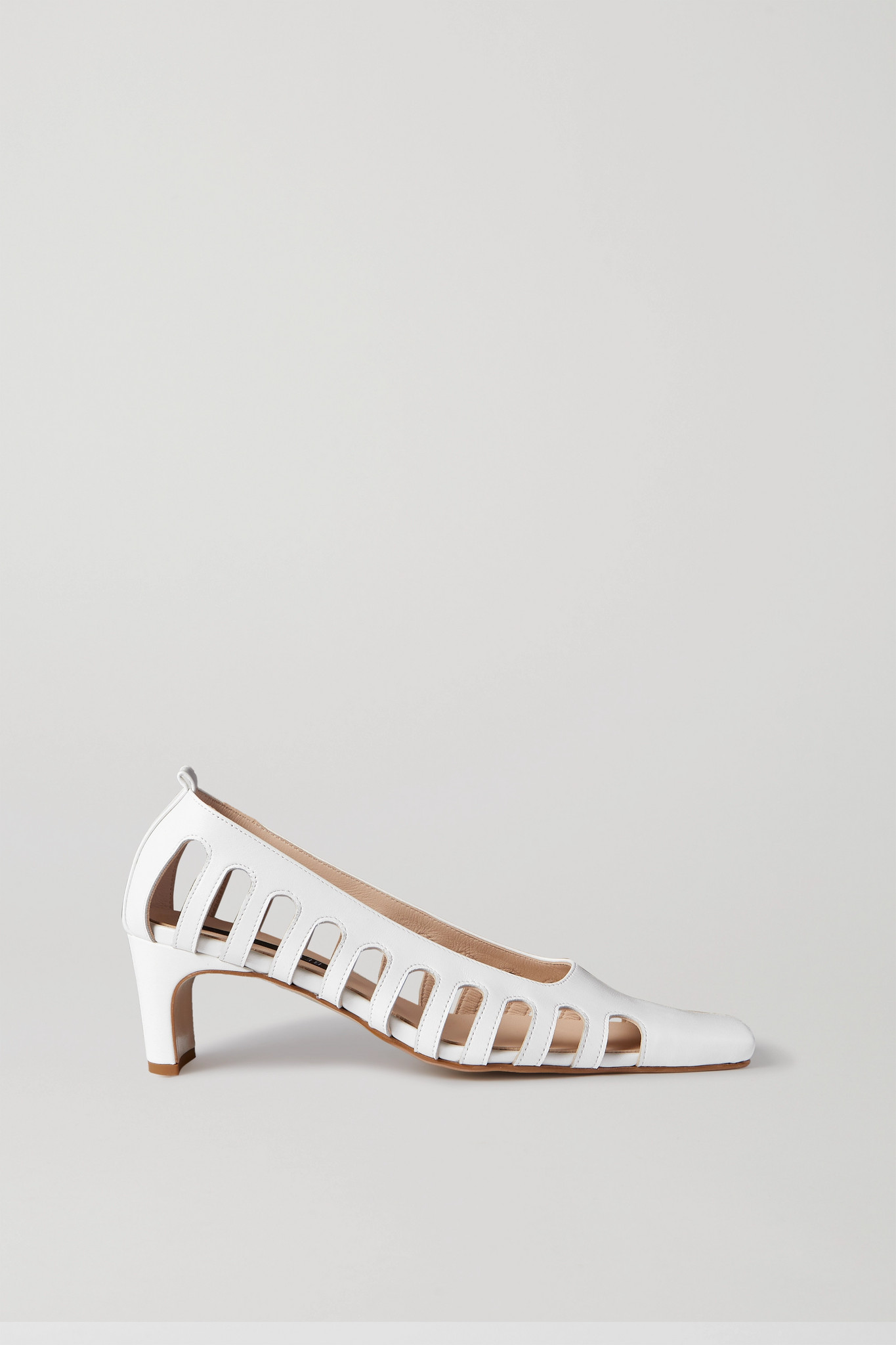 BEVZA - 挖剪皮革中跟鞋 - 白色 - IT40