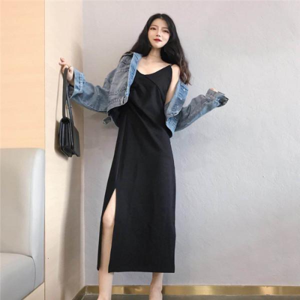 春秋韓版2020新款設計感褶皺開叉修身顯瘦中長款吊帶連衣裙女學生