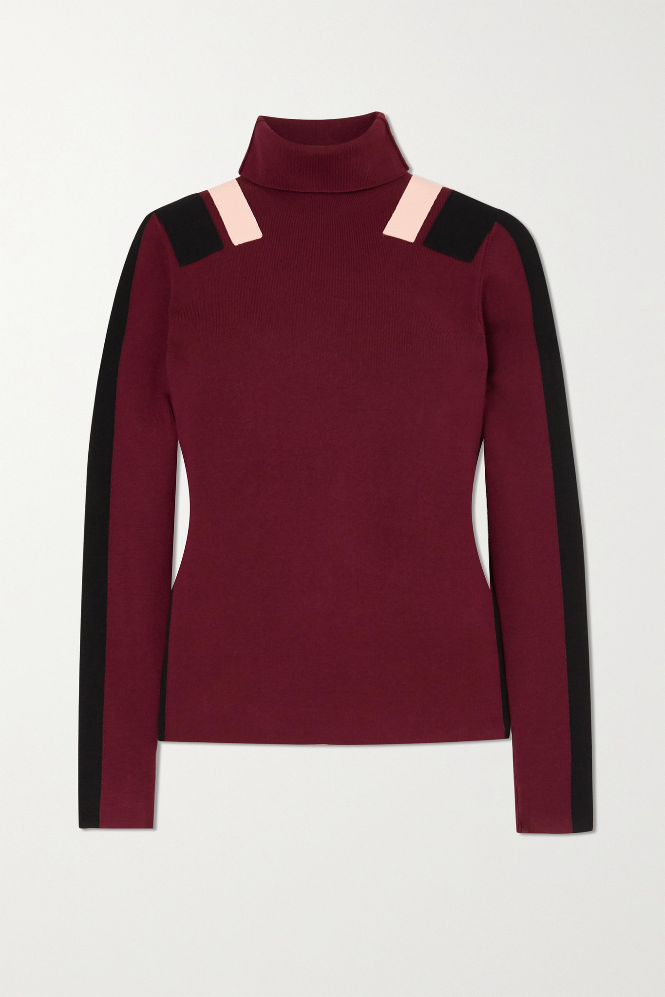VICTORIA, VICTORIA BECKHAM - 拼色针织高领毛衣 - 酒红色 - medium