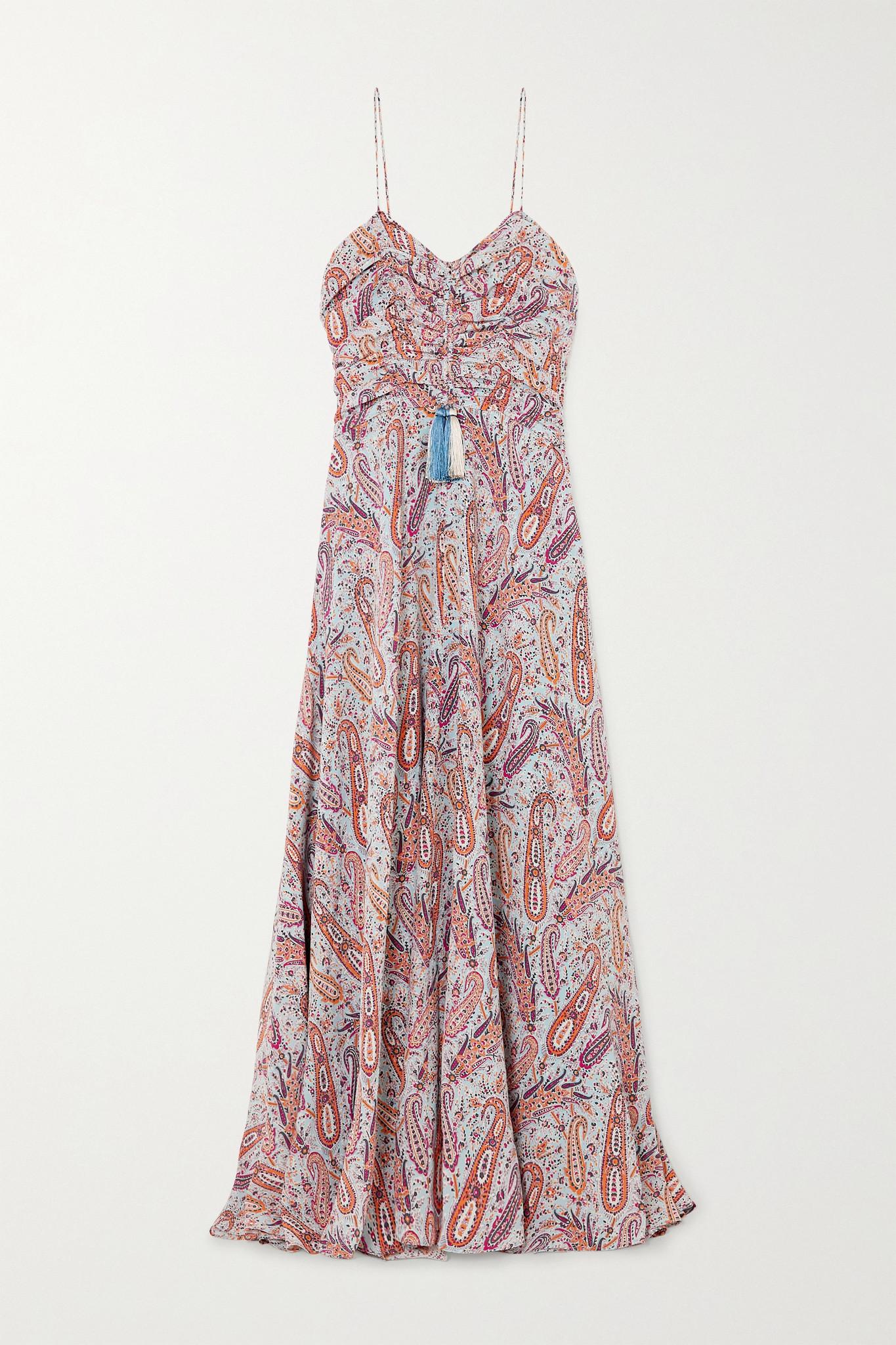 ETRO - Tasseled Paisley-print Silk Crepe De Chine Maxi Dress - Blue - IT40