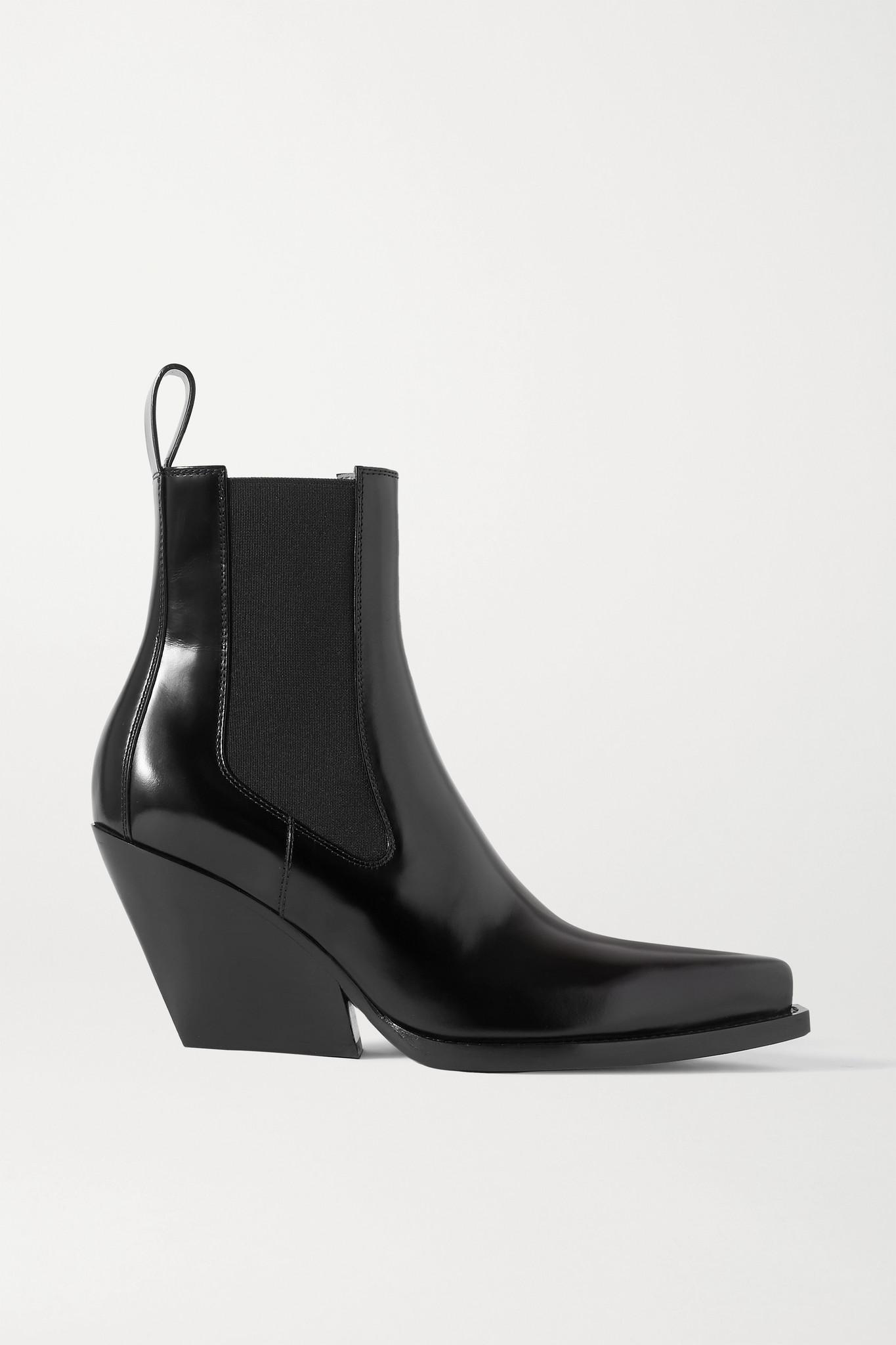 BOTTEGA VENETA - 亮面皮革踝靴 - 黑色 - IT36
