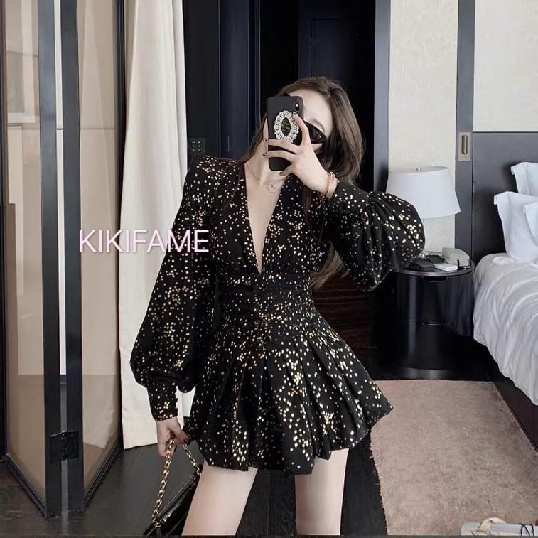 韓chic滿天星空V領洋裝 長袖洋裝 V領洋裝 連身裙 連身洋裝 洋裝 長袖連身裙 性感洋裝