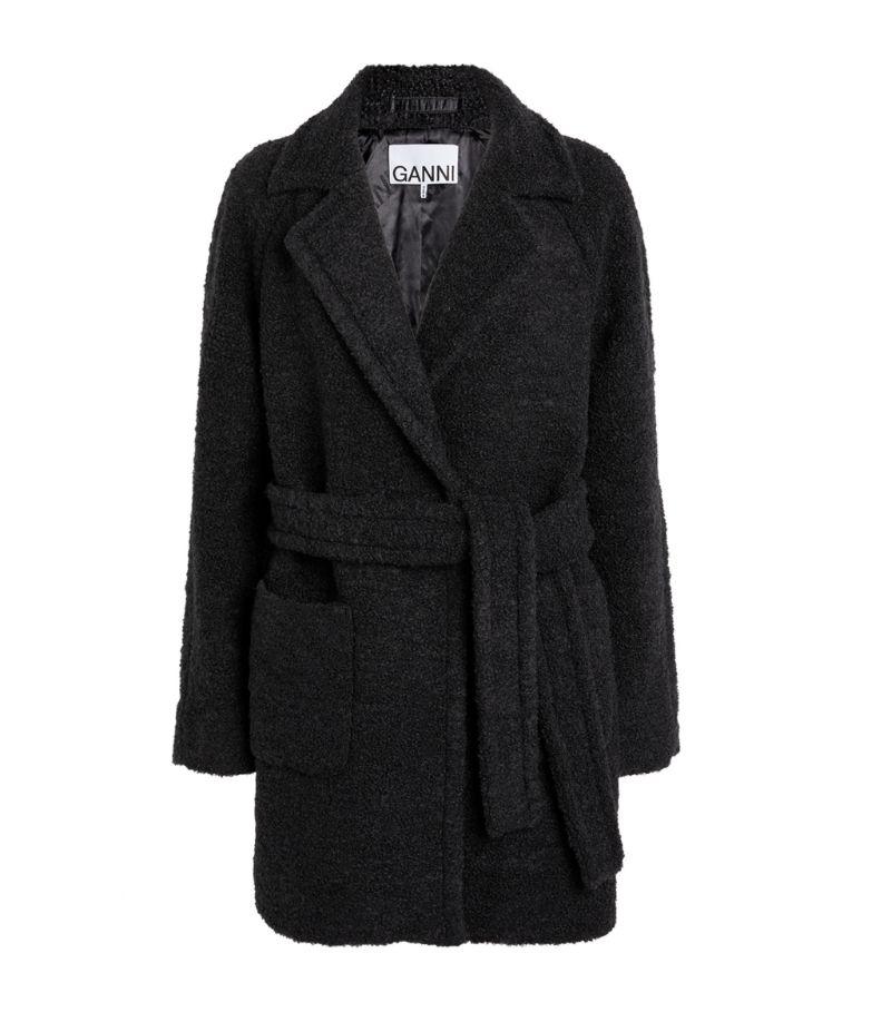 Ganni Wool-Blend Wrap Coat