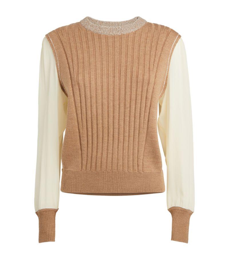 Chloé Silk-Sleeve Sweater