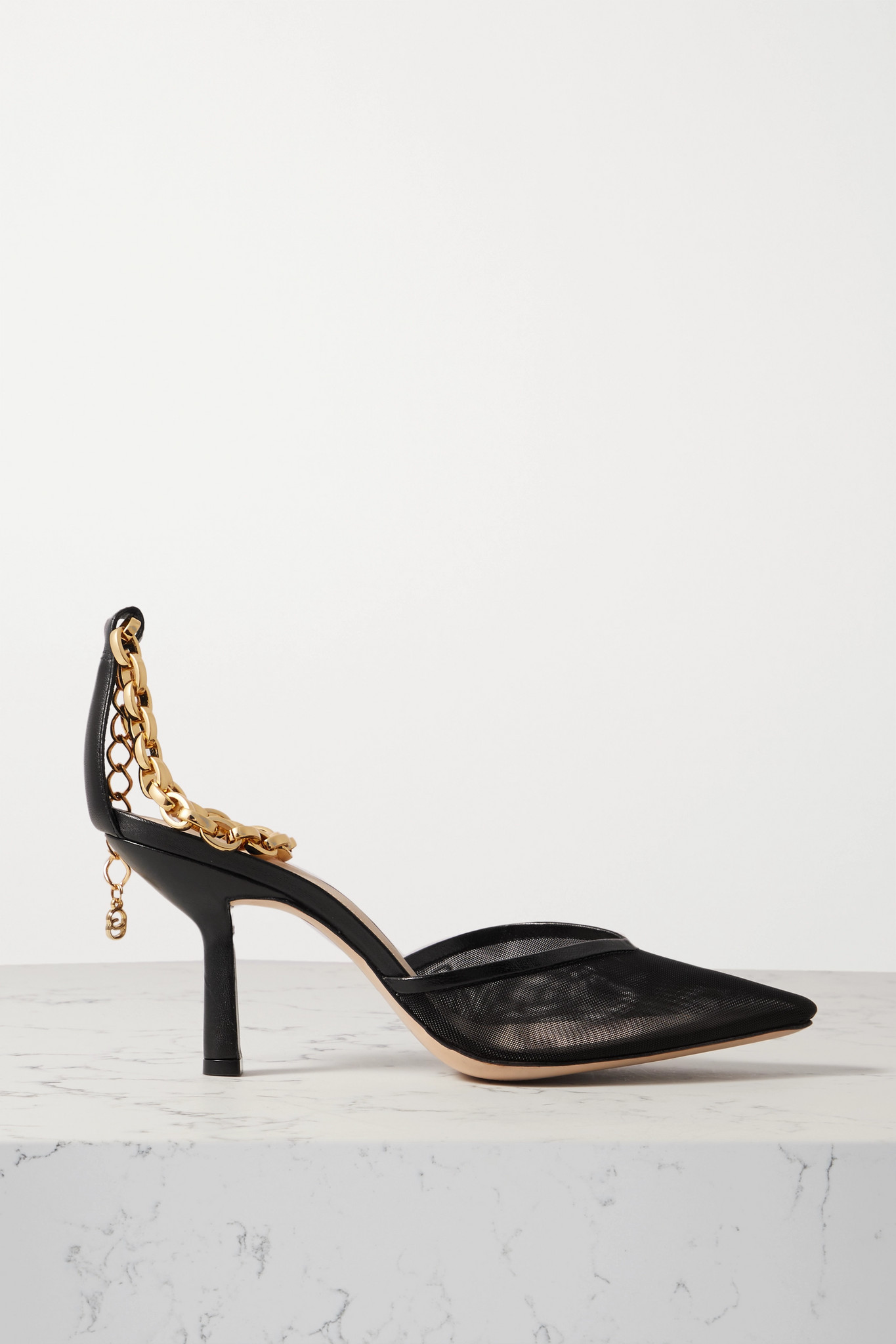 PORTE & PAIRE - 链条缀饰网布皮革高跟鞋 - 黑色 - IT40.5