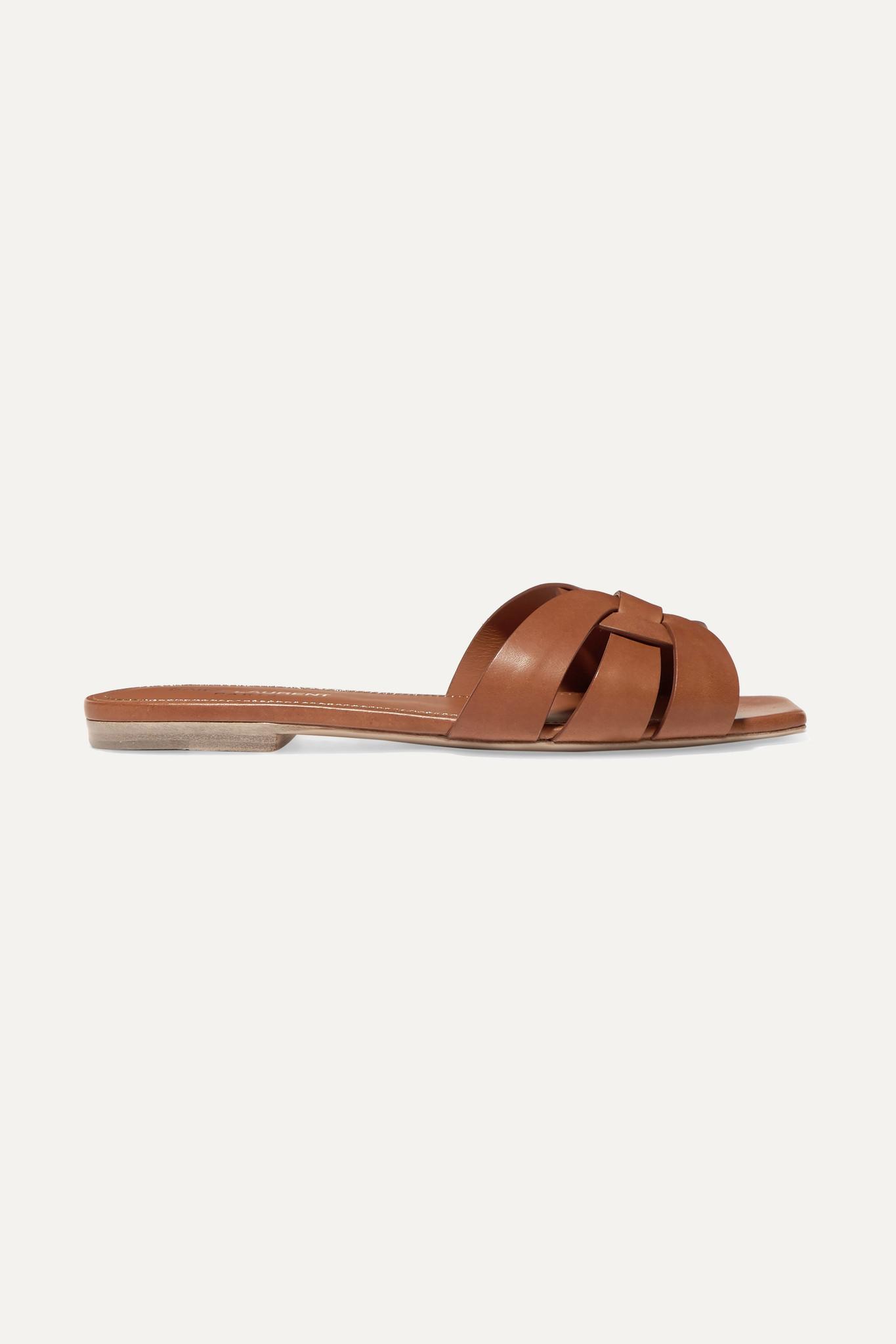 SAINT LAURENT - Nu Pieds Woven Leather Slides - Brown - IT37