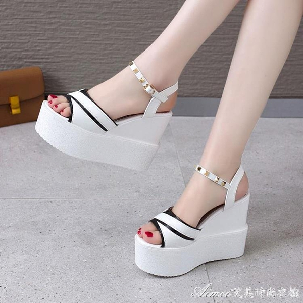 魚嘴鞋鬆糕厚底涼鞋女韓版百搭內增高女鞋超高跟魚嘴外穿羅馬坡跟涼鞋 快速出貨