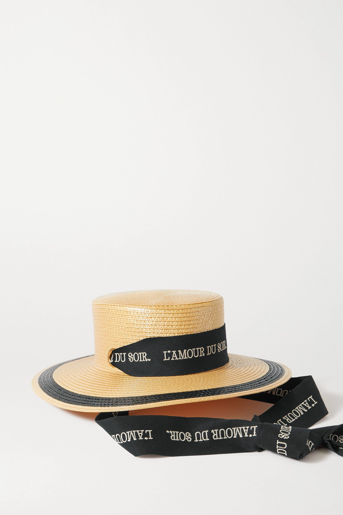 GUCCI - Embroidered Cotton-trimmed Straw Hat - Yellow - x small