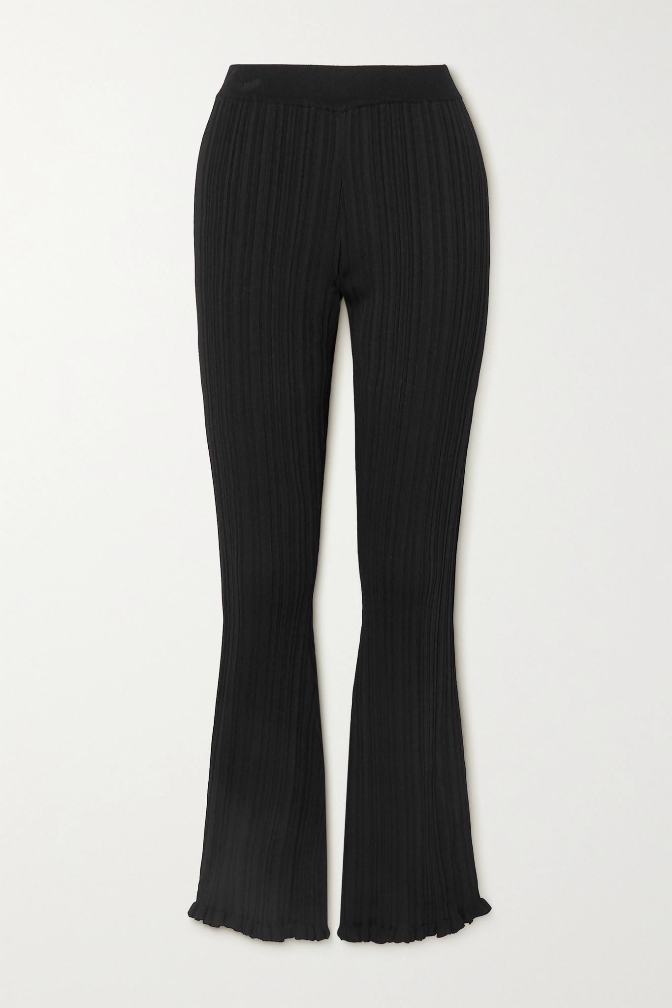 HOLZWEILER - Dahlia Ruffled Ribbed-knit Flared Pants - Black - x small