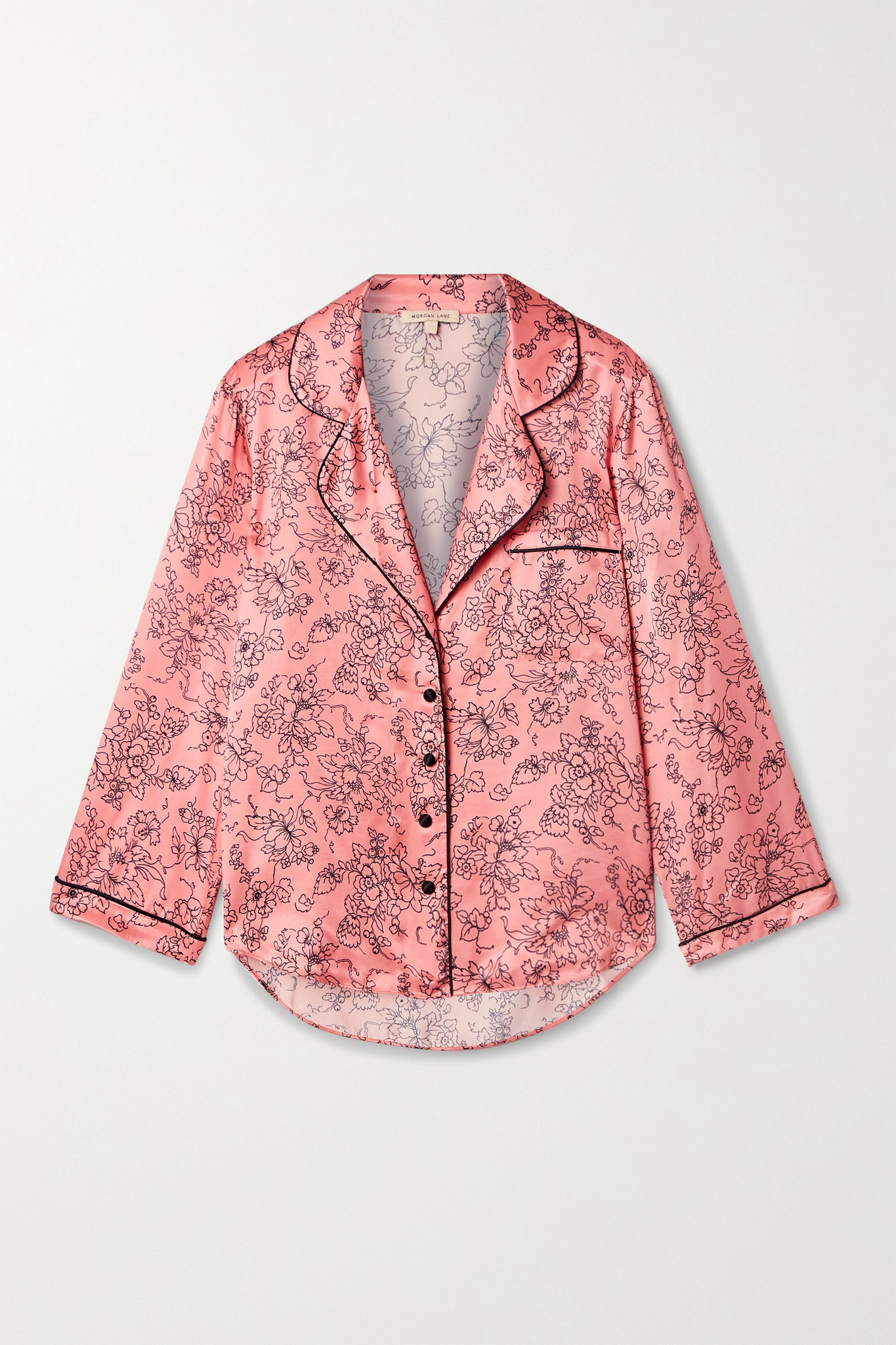 MORGAN LANE - Kinsley Piped Floral-print Satin Pajama Top - Pink - large