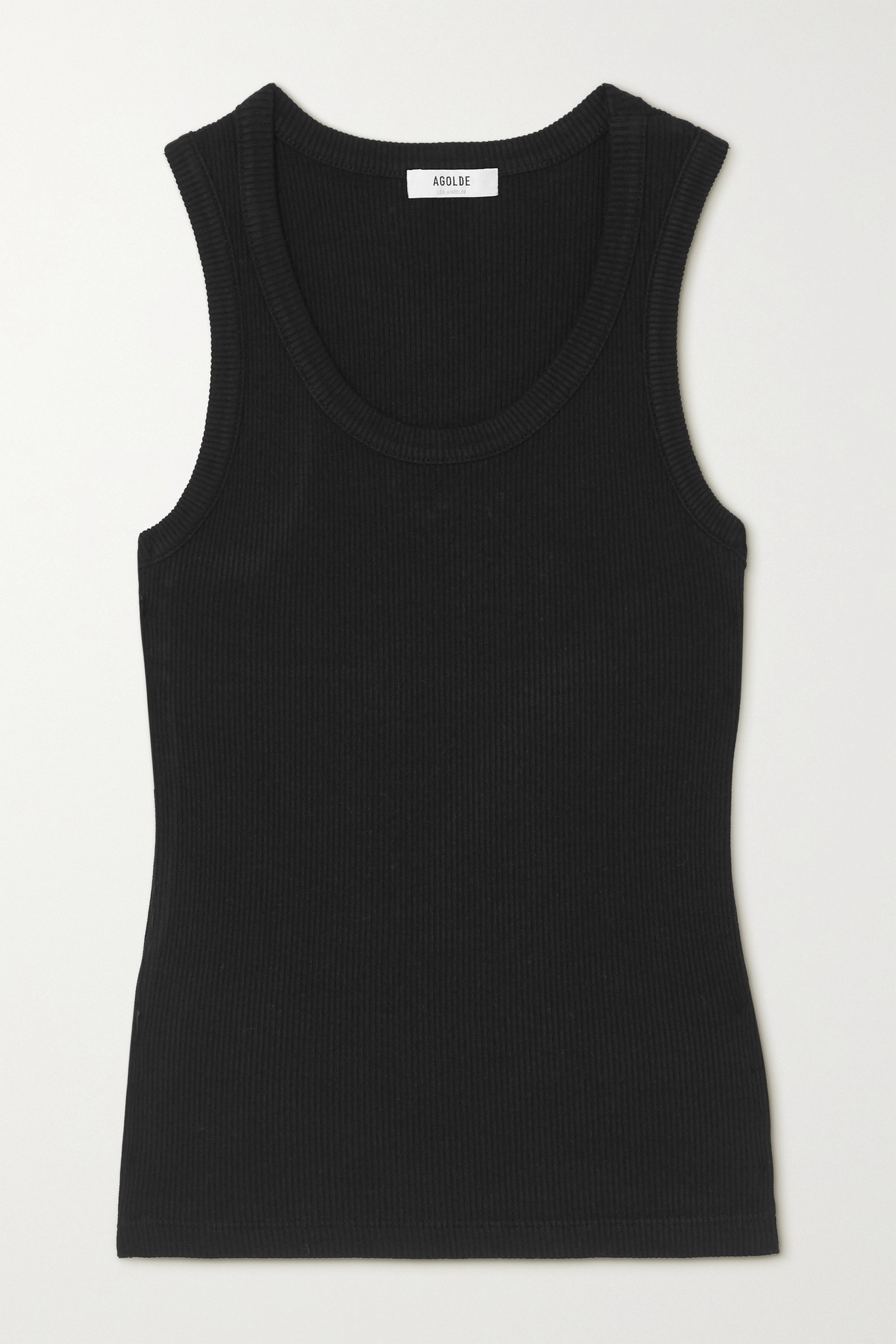 AGOLDE - Poppy 罗纹弹力有机棉质天丝混纺平纹布坦克背心 - 黑色 - x small