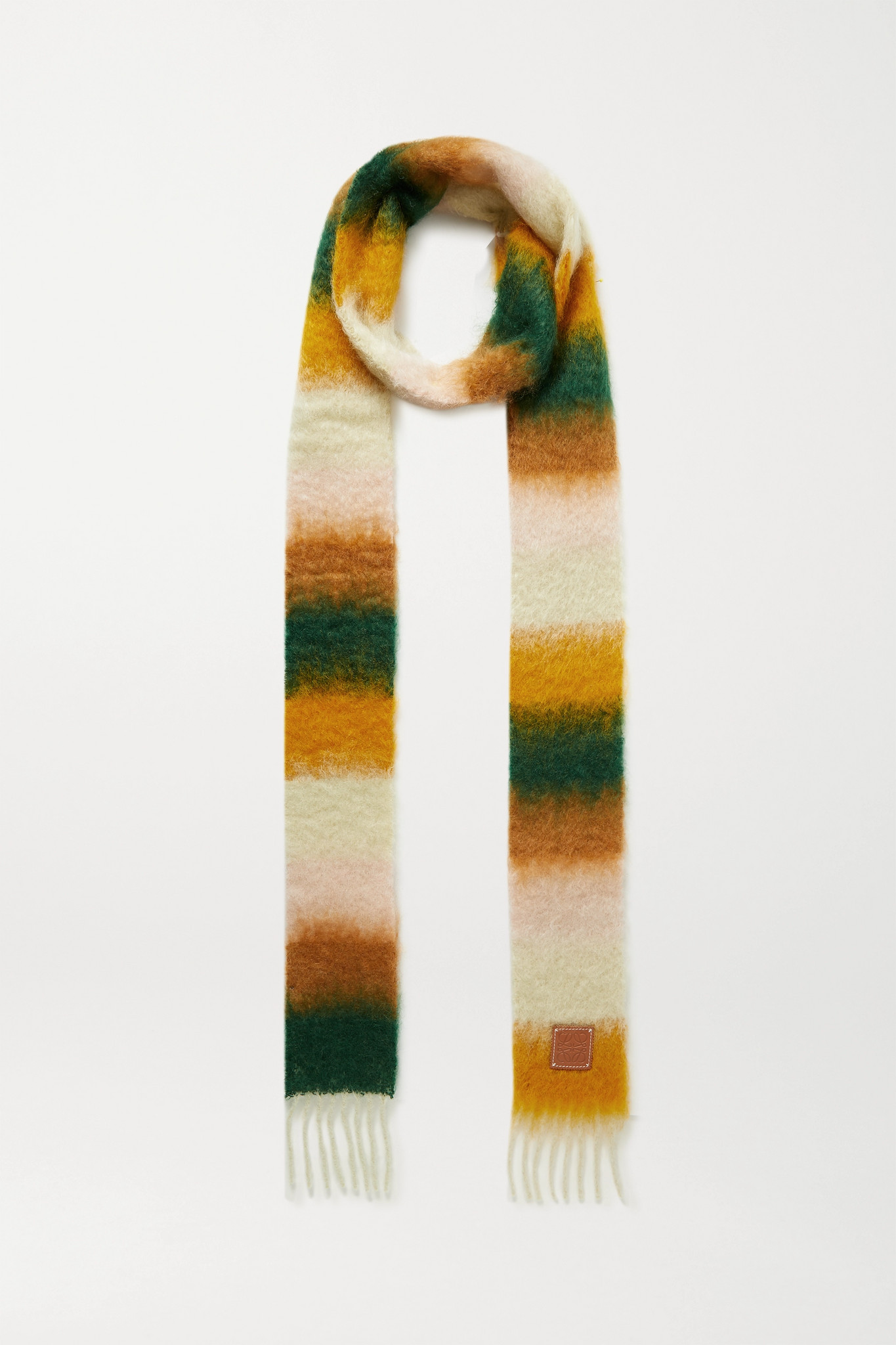 LOEWE - Leather-trimmed Fringed Striped Mohair-blend Scarf - Orange - one size