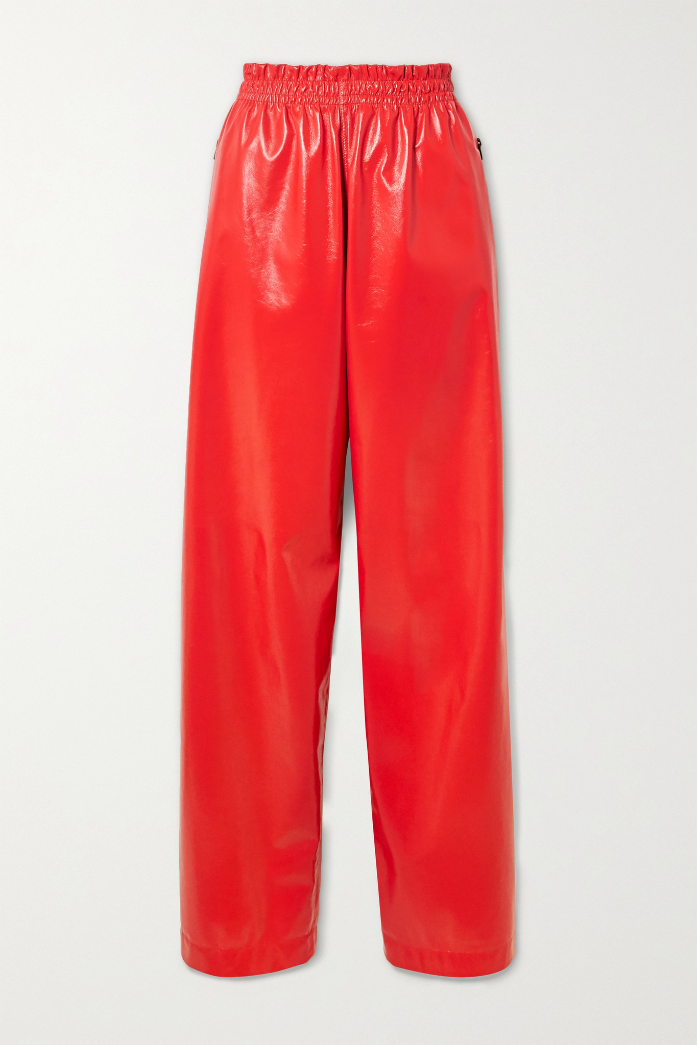 BOTTEGA VENETA - Crinkled Glossed-leather Wide-leg Pants - Red - medium