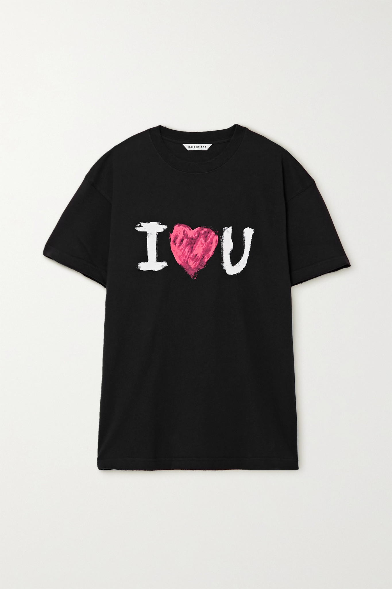BALENCIAGA - 印花纯棉平纹布 T 恤 - 黑色 - x small