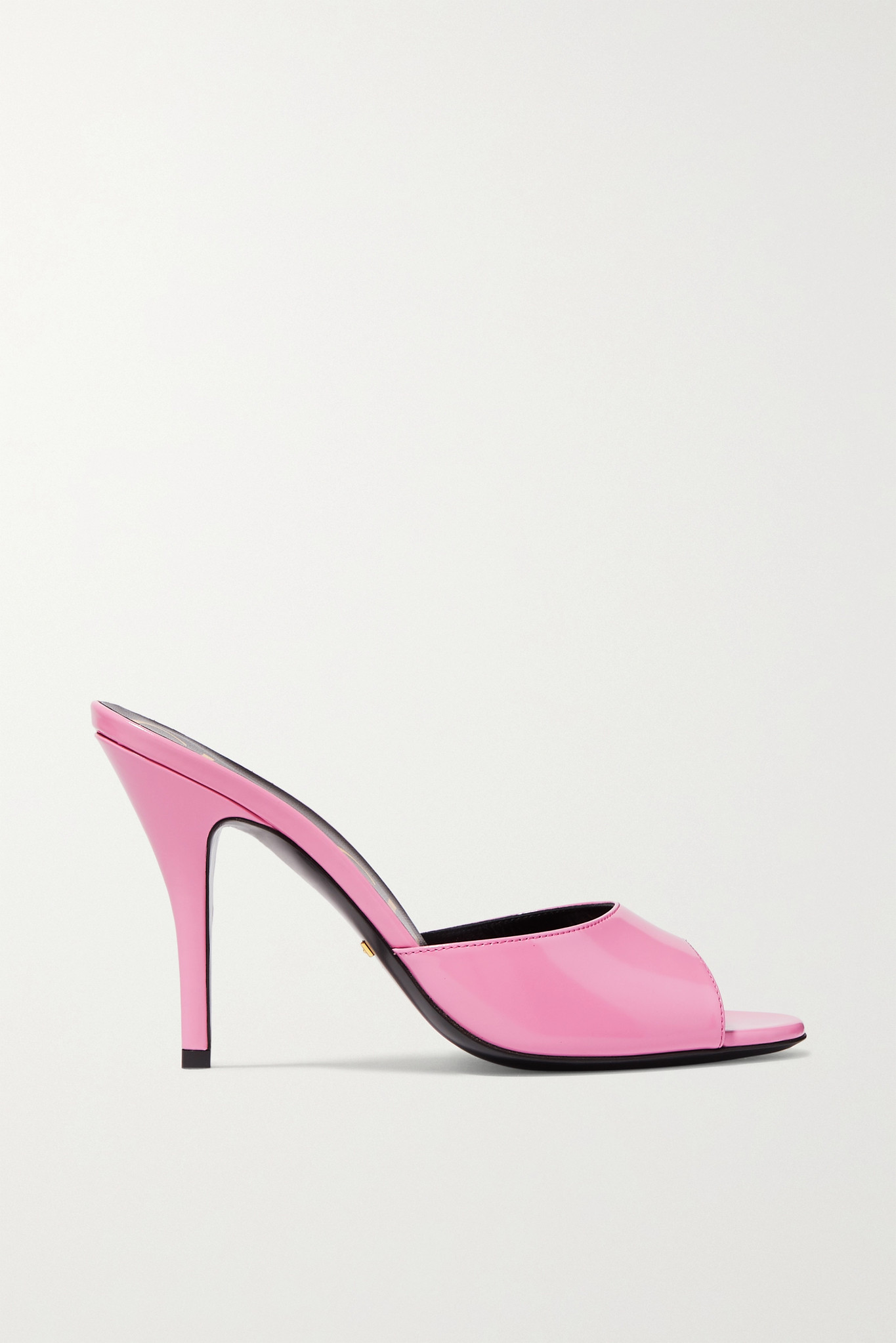 GUCCI - Scarlet 亮面皮革穆勒鞋 - 粉红色 - IT35