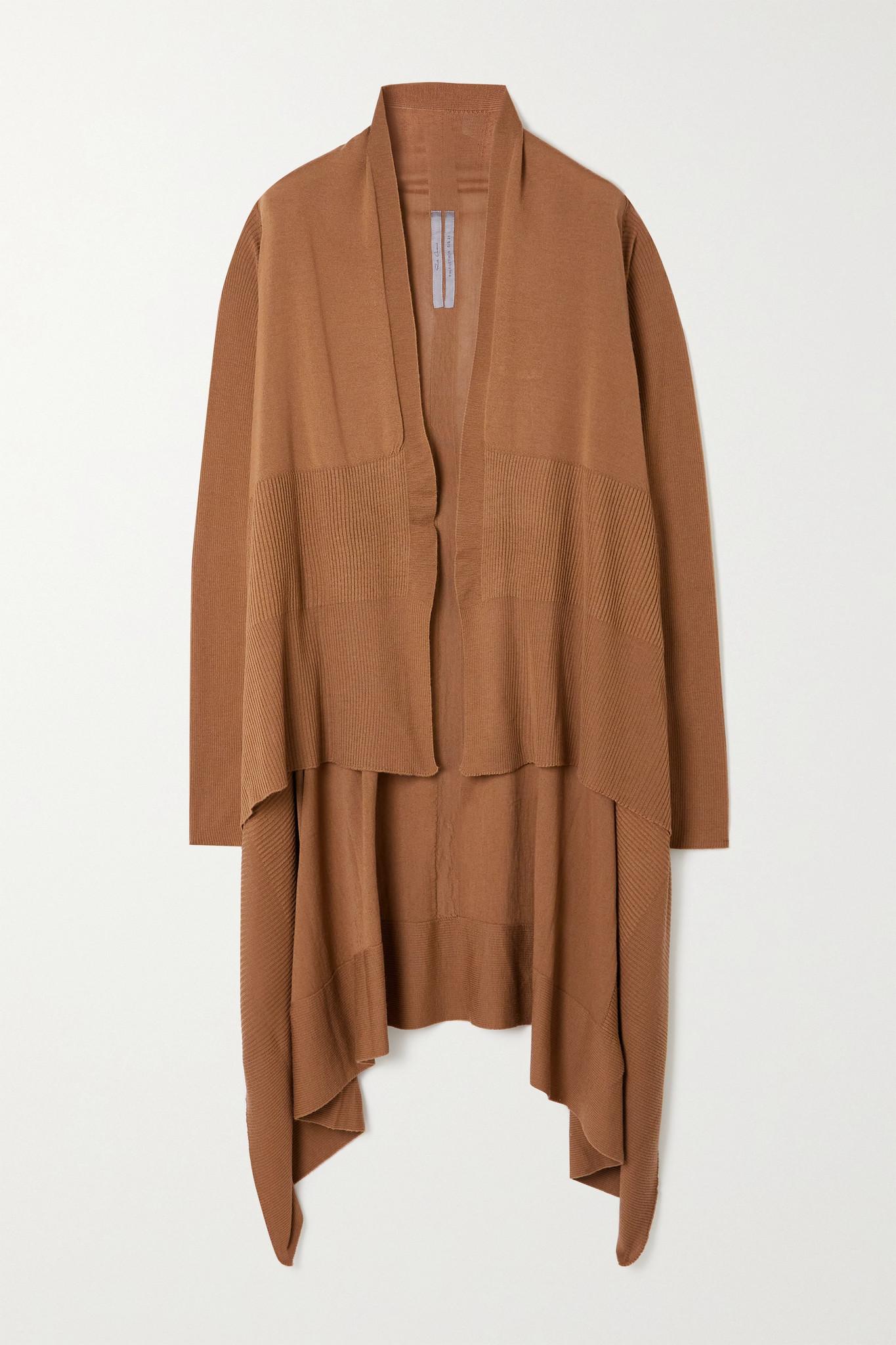RICK OWENS - Draped Ribbed Wool Cardigan - Brown - large