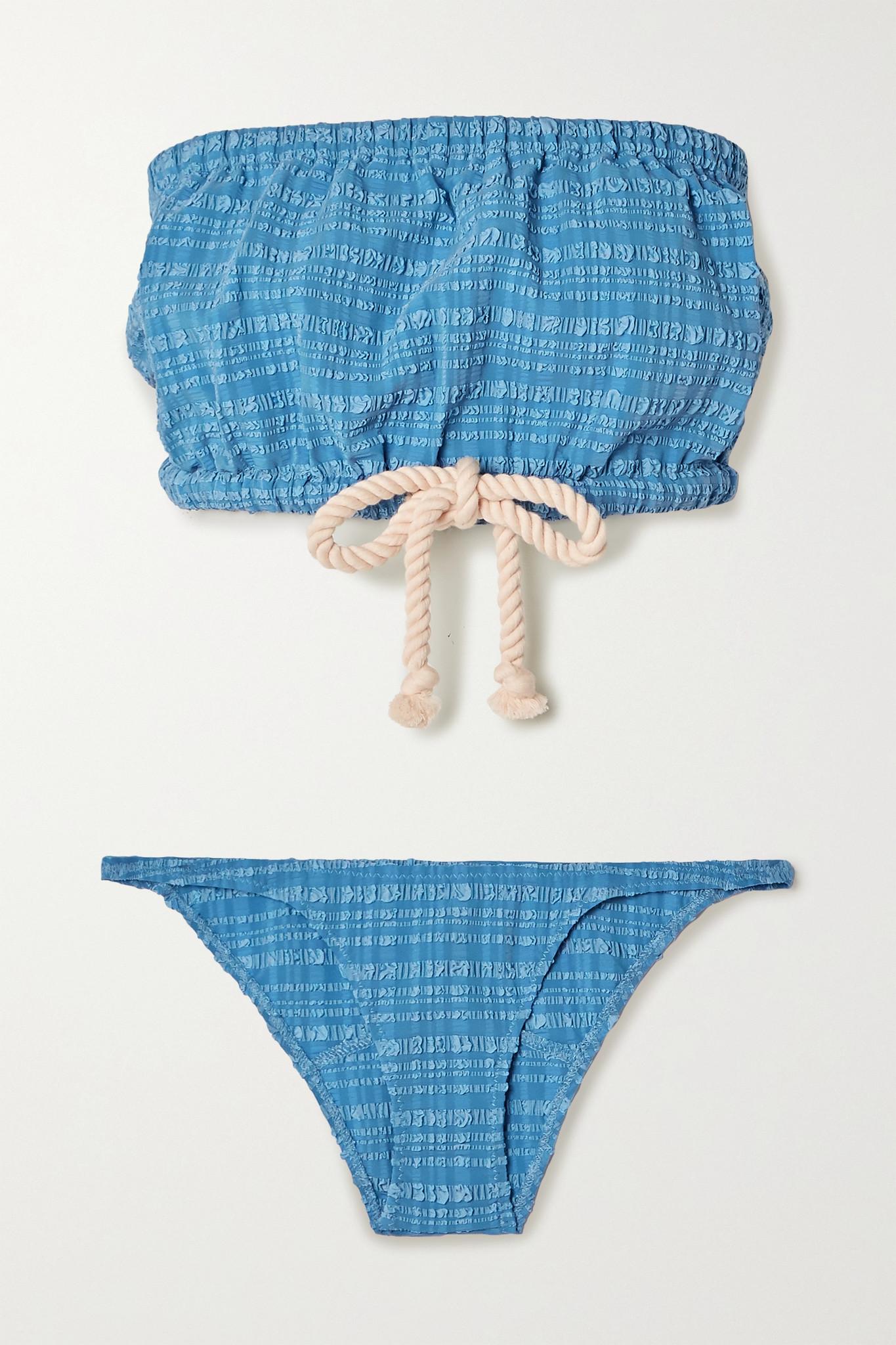 LISA MARIE FERNANDEZ - + Net Sustain Victor Tie-detailed Seersucker Bandeau Bikini - Blue - 2
