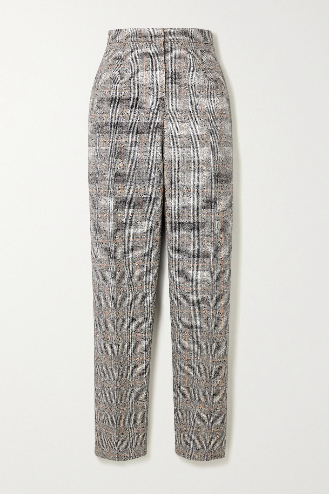 ALEXANDER MCQUEEN - Prince Of Wales Checked Wool-blend Tapered Pants - Black - IT42