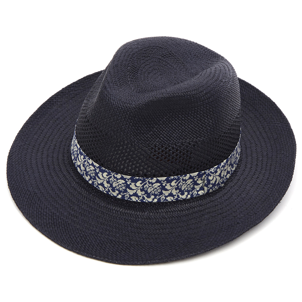 Notting Hill Preset Panama Hat - Navy Perforated XL