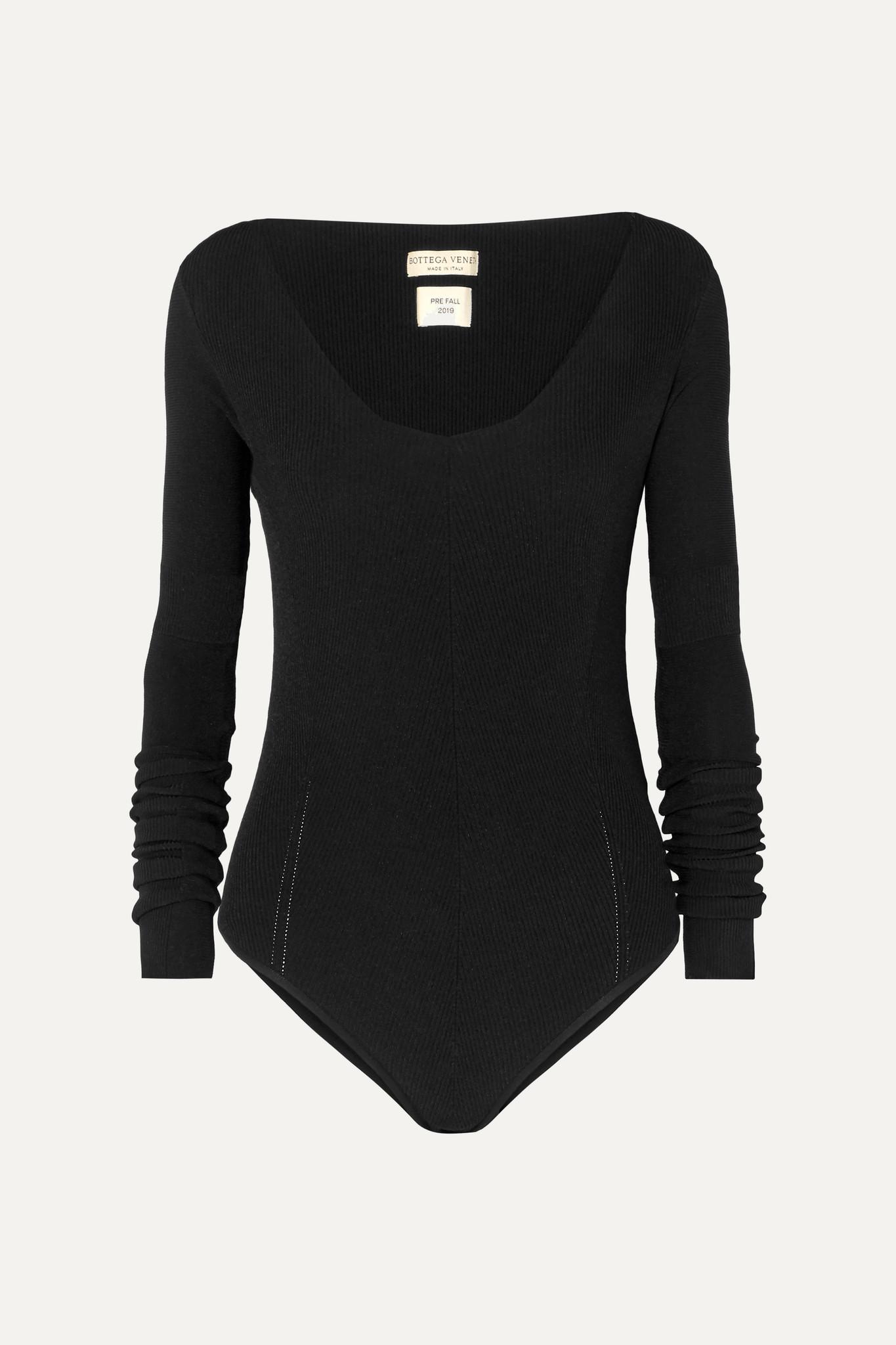 BOTTEGA VENETA - Ribbed-knit Bodysuit - Black - IT42