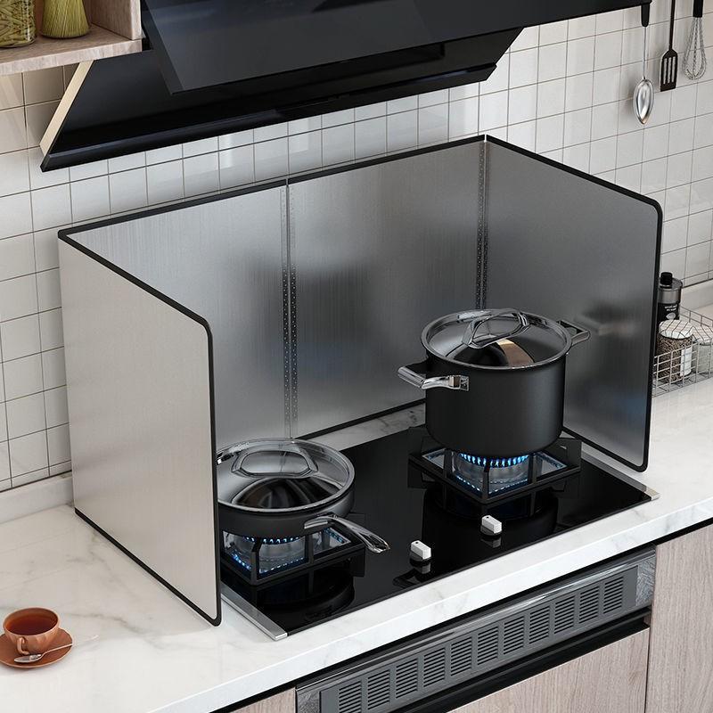 熱銷廚房擋板炒菜防濺機隔熱隔防擋板煤氣灶臺耐高溫不銹鋼 簡約北歐風廚房擋板 隔熱板 防濺板