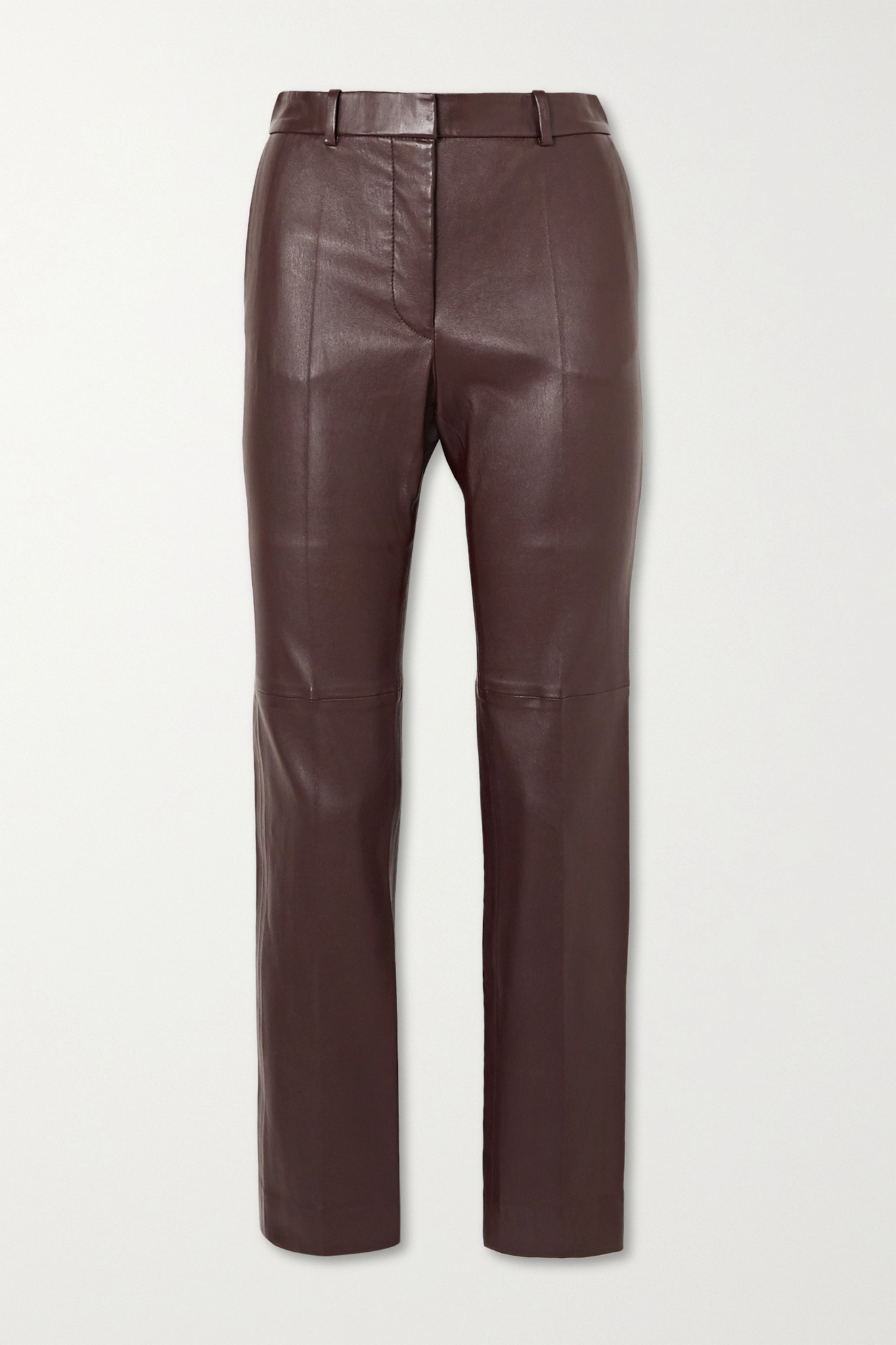 JOSEPH - Coleman Leather Slim-leg Pants - Burgundy - FR36
