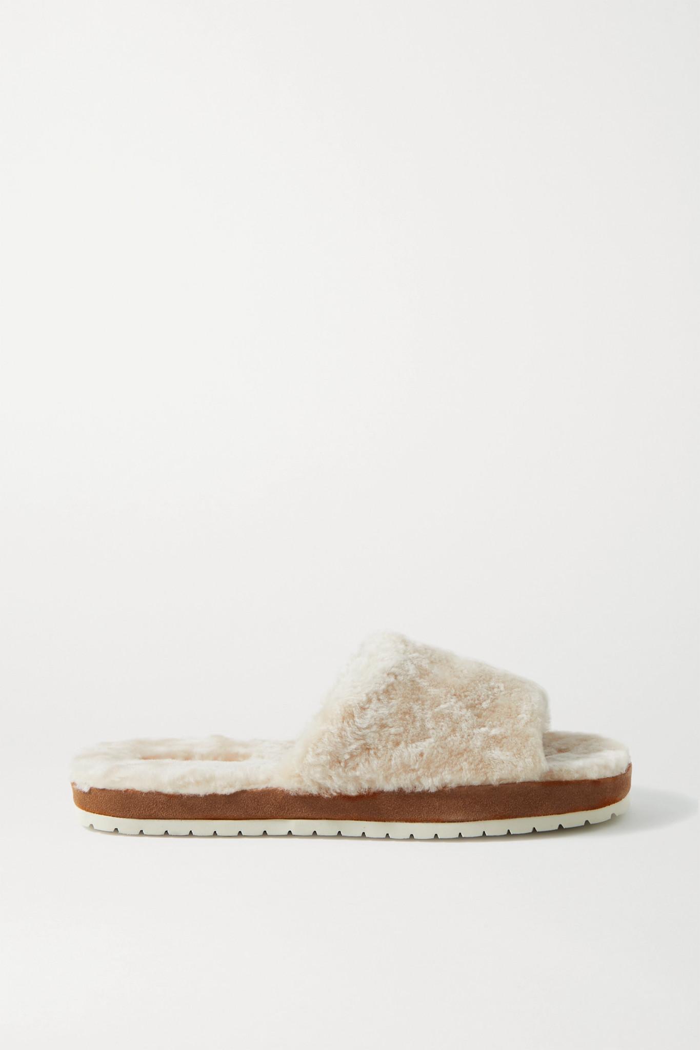 VINCE - Kalina 羊毛皮绒面革拖鞋 - 奶油色 - US9