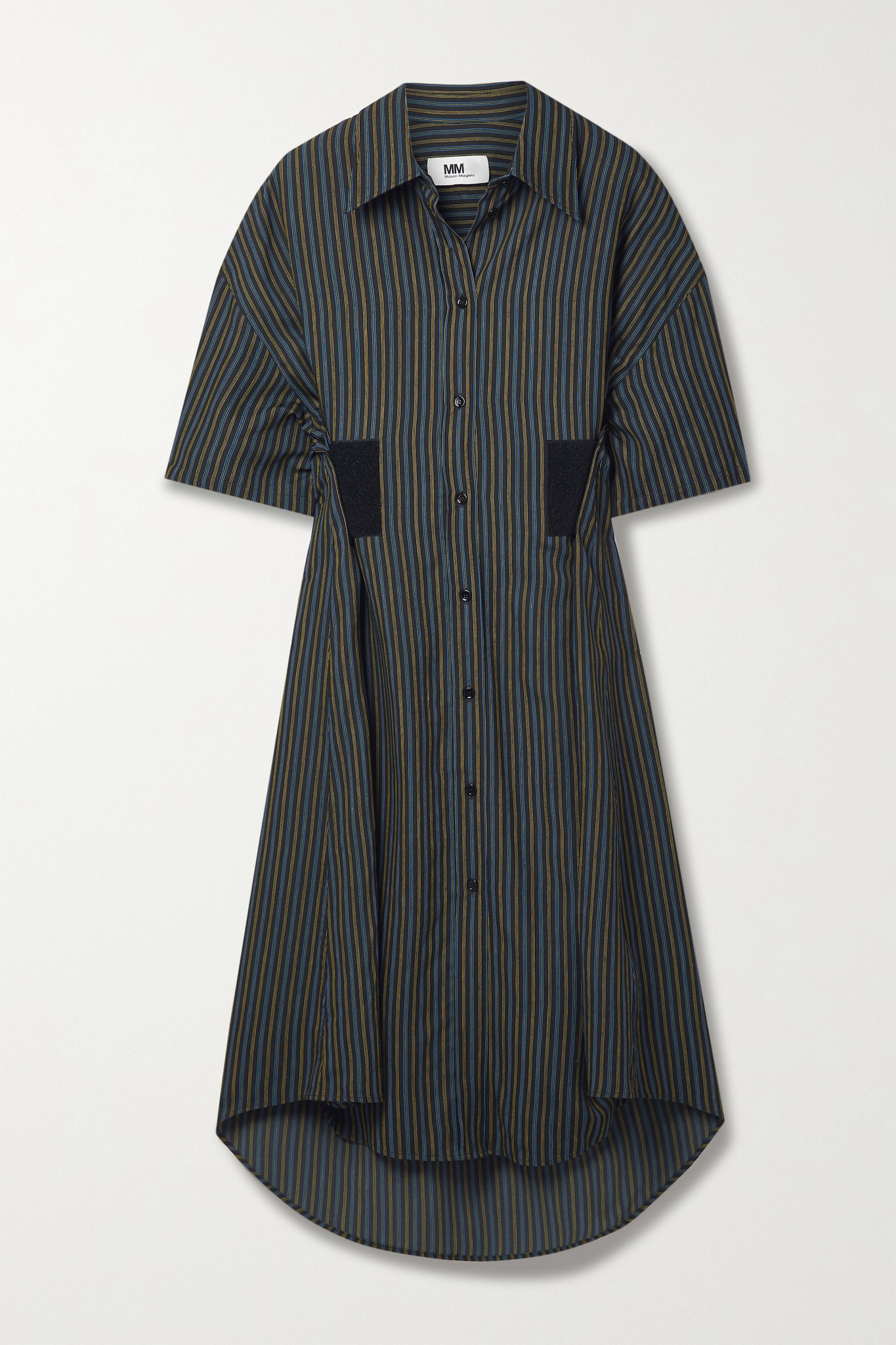 MM6 MAISON MARGIELA - 细条纹斜纹布中长衬衫式连衣裙 - 黑色 - x large
