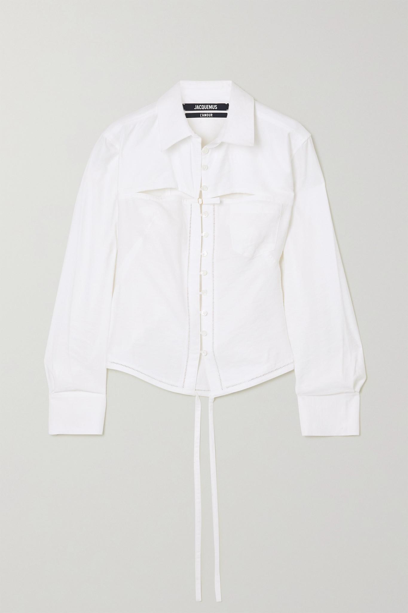 JACQUEMUS - Nappe 系带细节挖剪梭织衬衫 - 白色 - FR36
